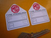 "MG Tyre Pressure Stickers. 1.75"" Pair."