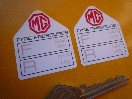 MG Tyre Pressure Stickers. 1.75