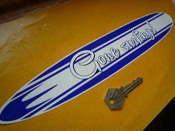 "Gone Surfing Large Self Adhesive Vinyl Surfboard Car Sticker. 12""."