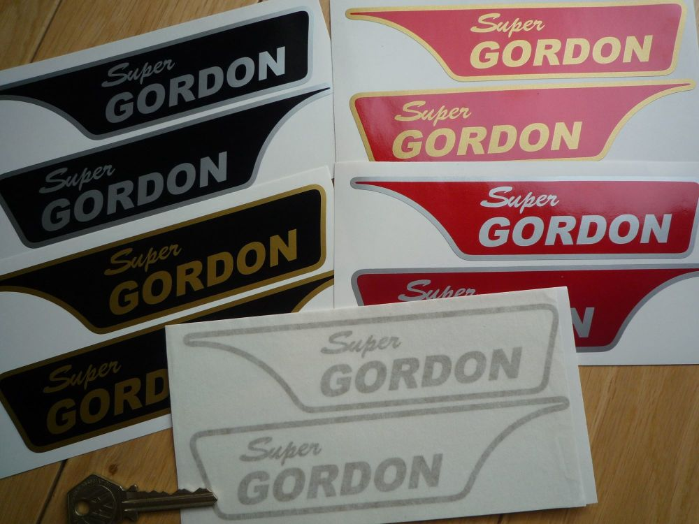 """Super Gordon Scooter Screen and Accessories Stickers. 6"""" Handed Pair."""