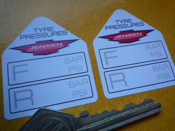 """Jensen Tyre Pressure Stickers. 1.75"""" Pair."""
