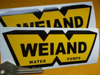 "Weiand Water Pumps Black & Yellow Stickers. 6"" Pair."