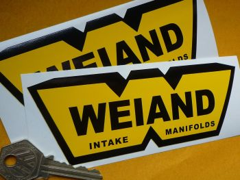 "Weiand Intake Manifolds Black & Yellow Stickers. 6"" Pair."