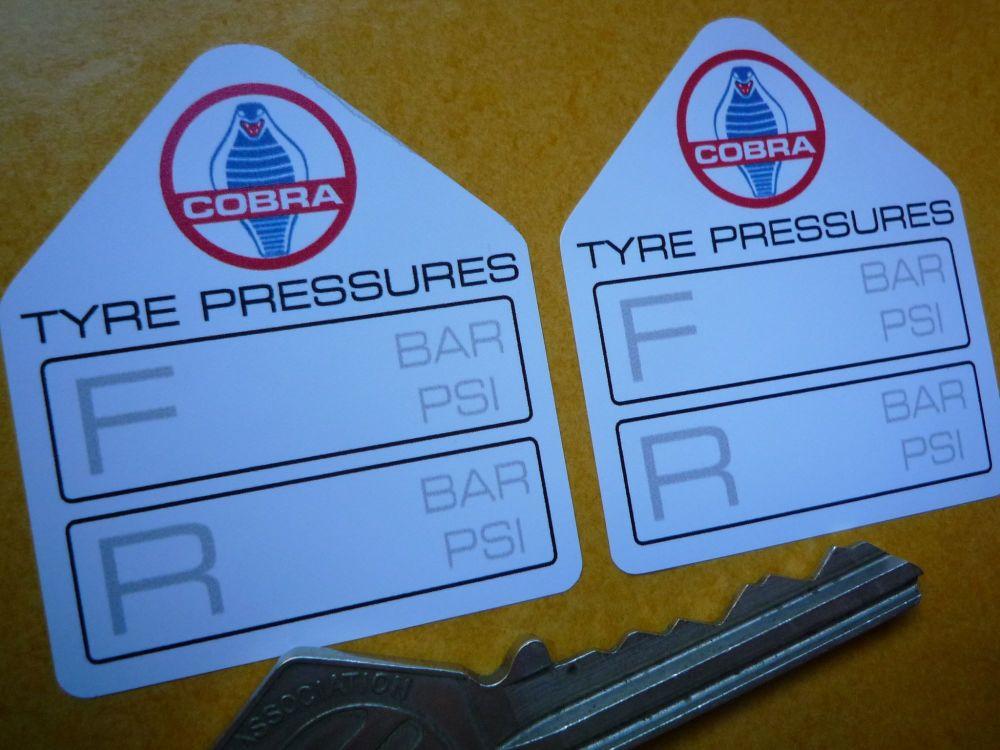 "AC Cobra Tyre Pressure Stickers. 1.75"" Pair."