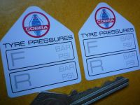 AC Cobra Tyre Pressure Stickers. 1.75