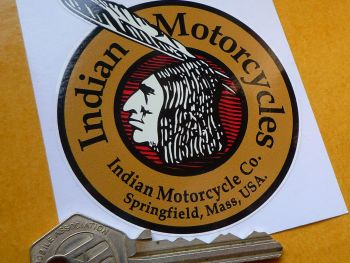 "Indian Motorcycles Circular Brave Sticker. 3""."