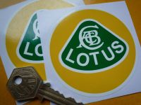 Lotus Old Text Yellow, Green, & White Circular Logo Stickers. 3