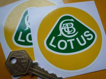 "Lotus Old Text Yellow, Green, & White Circular Logo Stickers. 3"" Pair."
