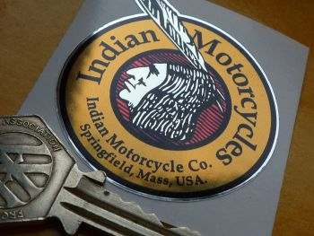 "Indian Motorcycles Circular Brave Thick Chrome Foil Sticker. 2""."