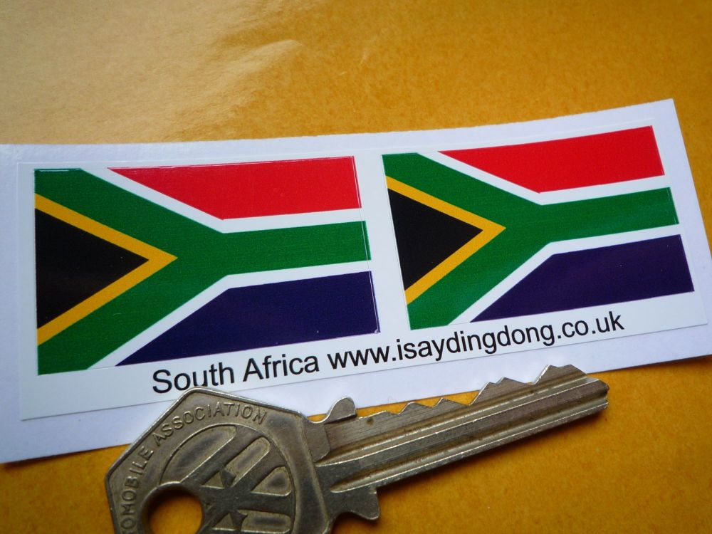 South Africa Flag Stickers. 40mm Pair.