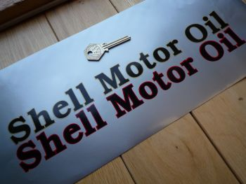 "Shell Motor Oil Outlined Text Stickers. 12"" Pair."