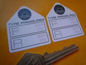 "Westfield Tyre Pressure Stickers. 1.75"" Pair."