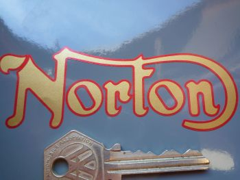 "Norton Cut Text Gold with Red Border Stickers. 4"" Pair."