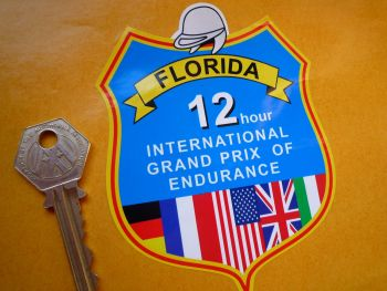 "Florida 12 Hour International GP of Endurance Old Style Shield Sticker. 4""."