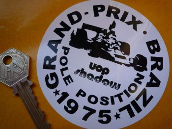 "UOP Shadow Brazil GP Pole Position 1975 Sticker. 3.5""."
