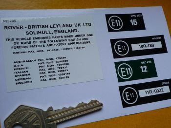 Land Rover Range Rover Under Bonnet EU Patents Labels Sticker. Various Sizes. Set of 5.