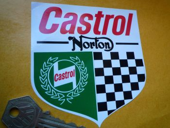 "Norton & Castrol Shield Style Sticker. 3"" or 4""."