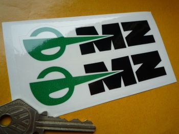 "MZ East German Motorcycle Black, Green & Clear Stickers. 4.5"" Pair."
