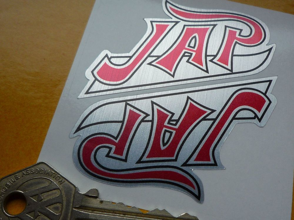 """JAP Thick Brushed Foil Shaped Stickers. 3"""" Pair."""
