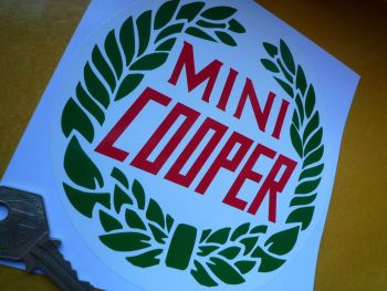 "Mini Cooper Garland Style Sticker. 4.5""."