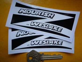 "Nourish for Weslake Black & White Oblong Stickers. 4"" Pair."