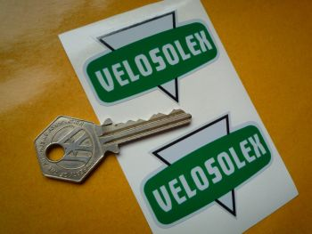 """VeloSolex French Moped Grey, Green, & Black Shaped Stickers. 2.5"""" Pair."""