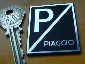 "Piaggio Square Style Laser Cut Self Adhesive Scooter Badge. 1.85""."