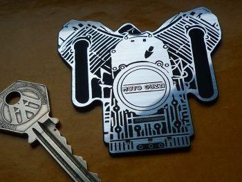 "Moto Guzzi Engine Style Self Adhesive Bike Badge. 1.5"" or 3""."