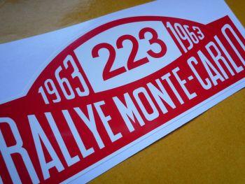 """Ford Falcon No.223 1963 Monte-Carlo Rallye Plate style Sticker. 6""""."""