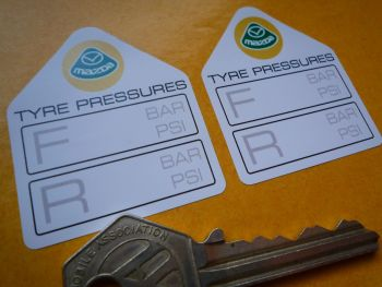 "Mazda Tyre Pressure Stickers. 1.75"" Pair."