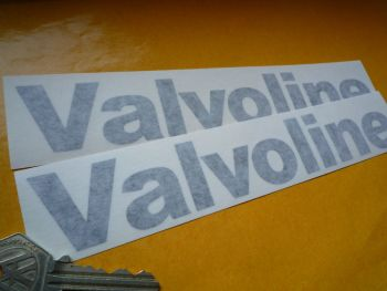"Valvoline Cut Vinyl Old Style Text Stickers. 6"", 8"" or 9"" Pair."