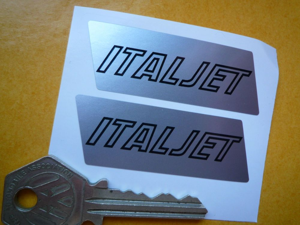 Italjet Engine Case Stickers. 63mm Non-Handed Pair.