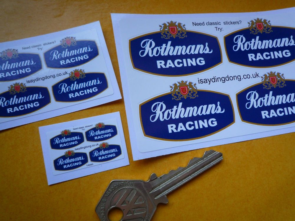 Rothmans Racing Small Scale Stickers. Set of 4. 14mm, 25mm, or 50mm.