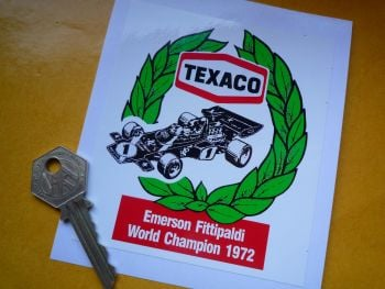 "Texaco Lotus JPS Emerson Fittipaldi 1972 World Champion Sticker. 4""."