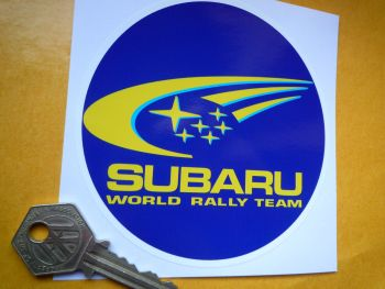 "Subaru Circular World Rally Team Coloured Sticker. 4""."