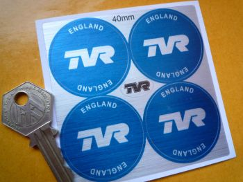 TVR England Dark Blue Wheel Centre Stickers. Thick Brushed Foil. Set of 4. 40mm.