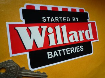 "Willard 'Started by Willard Batteries' Shaped Sticker. 6.5""."