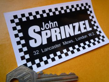 John Sprinzel Black & White Oblong Sticker. 4""