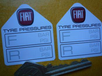 "Fiat Tyre Pressure Stickers. 1.75"" Pair."