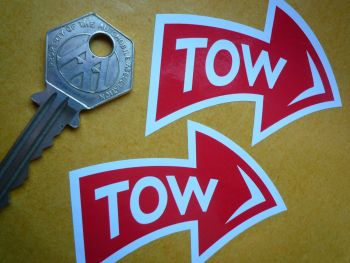 TOW Racing Car Text & Curved Arrow Stickers. 70mm Pair. Various Colours.