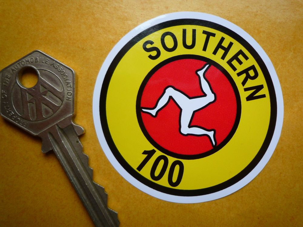 Isle Of Man Southern 100 Sticker. 60mm.