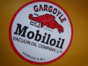 "Mobil Mobiloil Vacuum Gargoyle Round Sticker. 6"" or 8""."