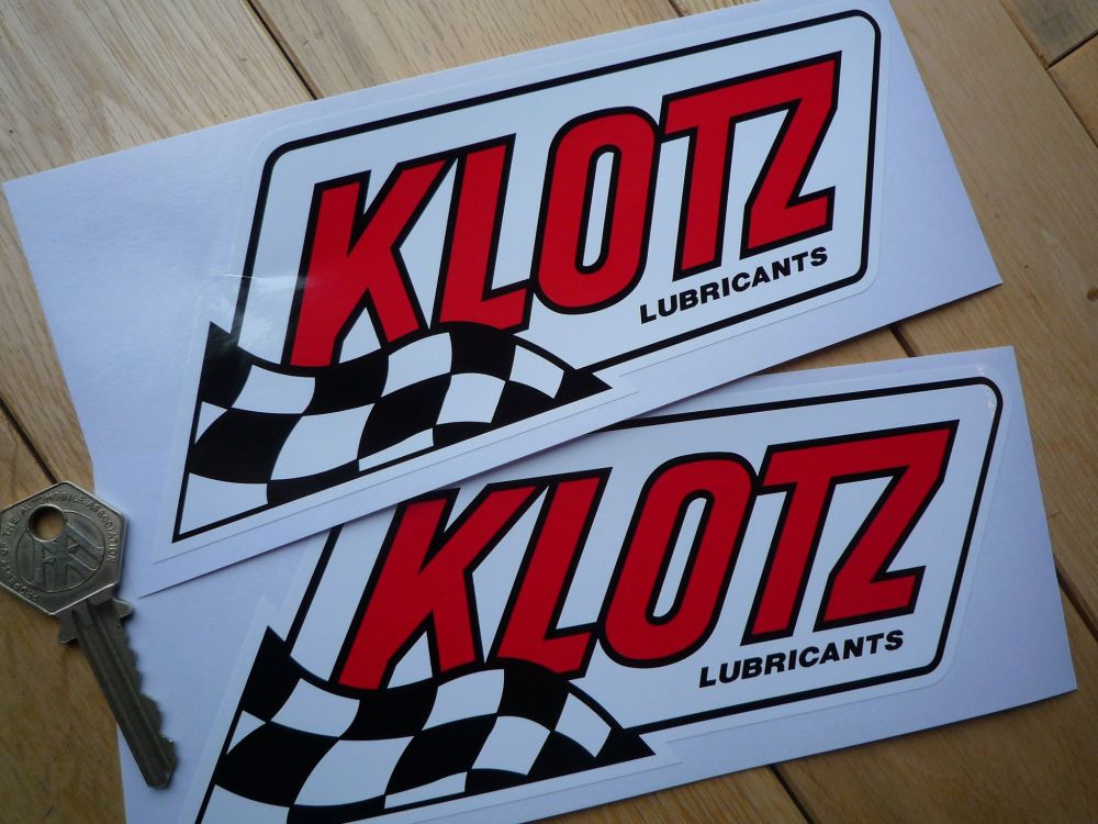 """Klotz Lubricants Slanted Oblong Stickers. 4"""" or 8"""" Pair."""