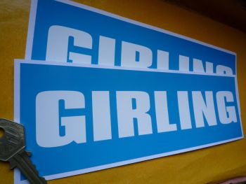 """Girling Light Blue & White Oblong Stickers. 9.5"""" Pair."""