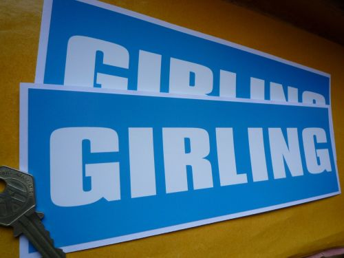 Girling Light Blue & White Oblong Stickers. 9.5
