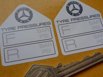 """Mercedes Benz Tyre Pressure Stickers. 1.75"""" Pair."""
