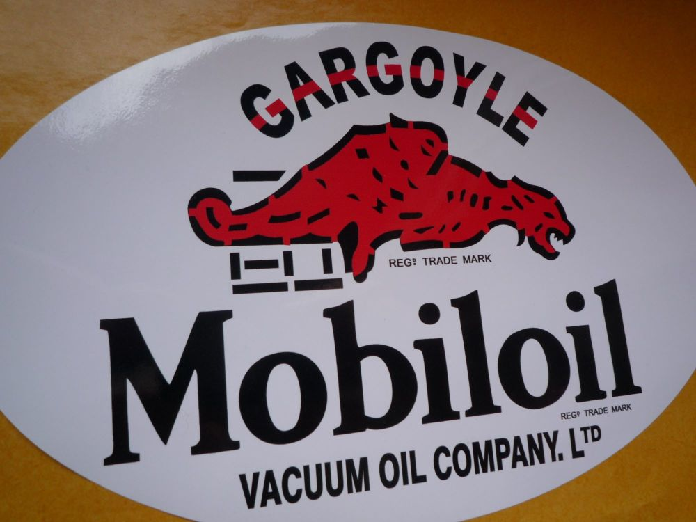 "Mobil Mobiloil Gargoyle Vacuum Oil Company Oval Sticker. 8""."