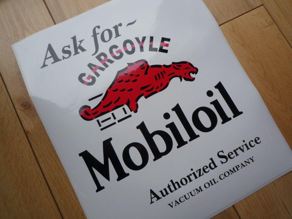 "Mobil Mobiloil Gargoyle Authorized Service Oblong Sticker. 10""."