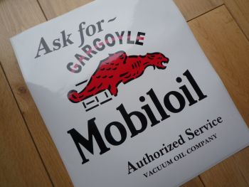 "Mobil Mobiloil Gargoyle Authorized Service Oblong Sticker. 10""."