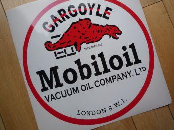 "Mobil Mobiloil Vacuum Gargoyle Round Sticker. 12""."
